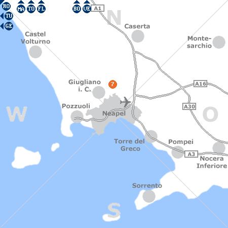 Karte mit Pensionen und anderen Unterkünften rund um Neapel