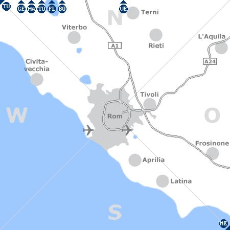 Karte mit Pensionen und anderen Unterkünften rund um Rom