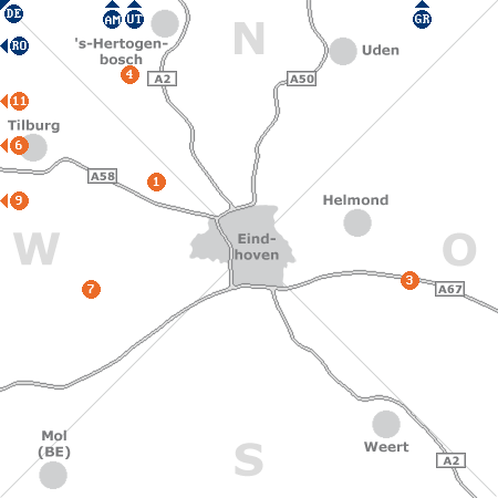Karte mit Pensionen und anderen Unterkünften rund um Eindhoven