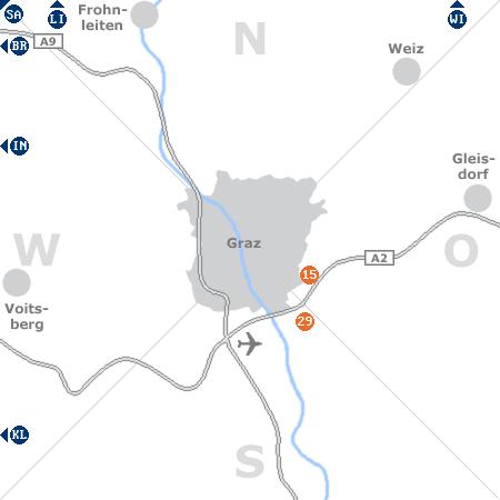Karte mit Pensionen und anderen Unterkünften rund um Graz