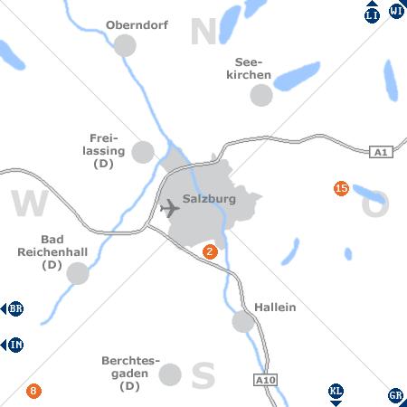 Karte mit Pensionen und anderen Unterkünften rund um Salzburg