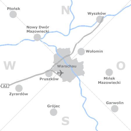 Karte mit Pensionen und anderen Unterkünften rund um Warschau