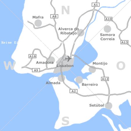 Karte mit Pensionen und anderen Unterkünften rund um Lissabon