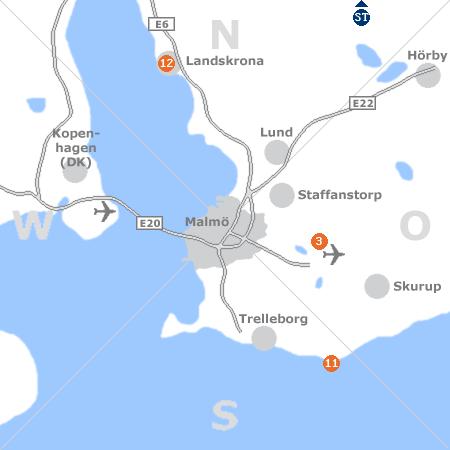 Karte mit Pensionen und anderen Unterkünften rund um Malmö