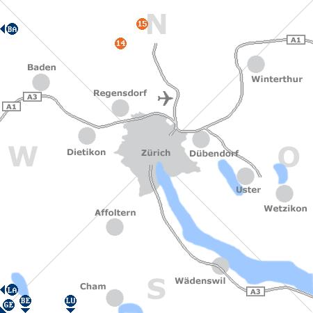 Karte mit Pensionen und anderen Unterkünften rund um Zürich