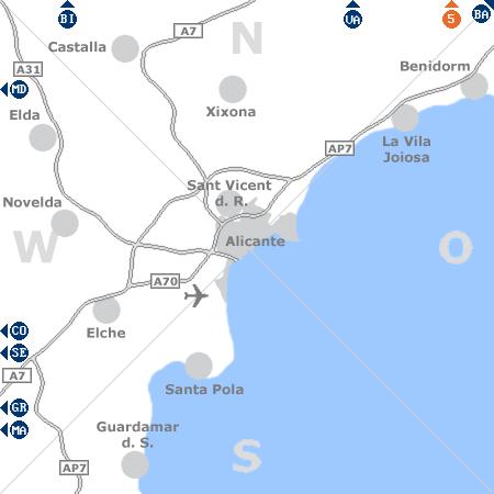 Karte mit Pensionen und anderen Unterkünften rund um Alicante