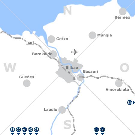 Karte mit Pensionen und anderen Unterkünften rund um Bilbao