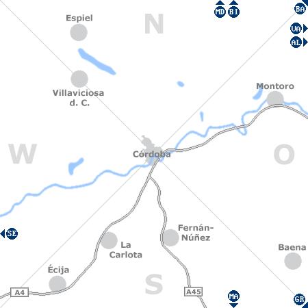 Karte mit Pensionen und anderen Unterkünften rund um Córdoba