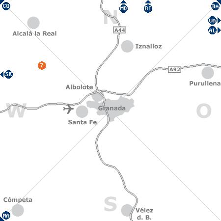 Karte mit Pensionen und anderen Unterkünften rund um Granada