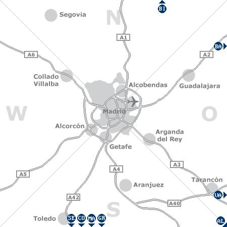 Karte mit Pensionen und anderen Unterkünften rund um Madrid