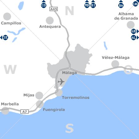 Karte mit Pensionen und anderen Unterkünften rund um Málaga