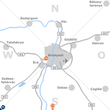Karte mit Pensionen und anderen Unterkünften rund um Budapest